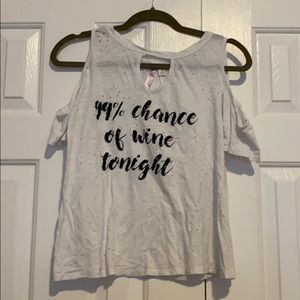 99% Chance of Wine Tonight Open Shoulder Top